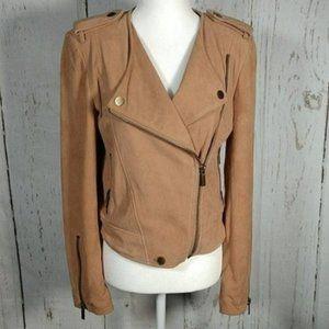 Etcetera Suede Moto Jacket Tan Size 4 NWOT